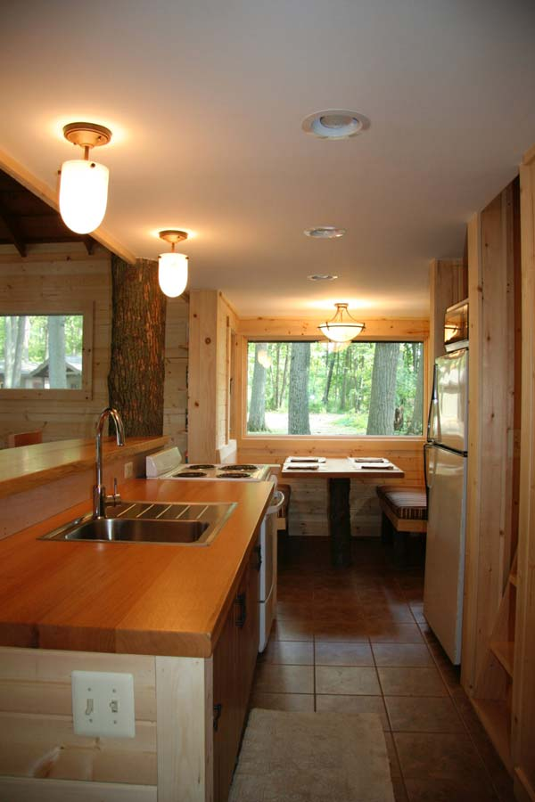 Camp Woodbury cabin kitchen