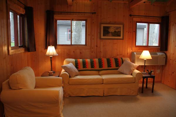Camp Woodbury cabin living room