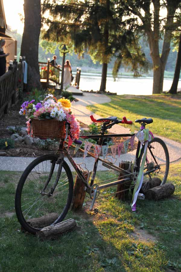 Camp Woodbury wedding bike