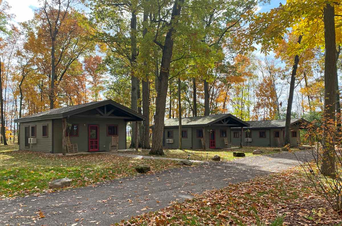 Camp Woodbury cabins in the Fall