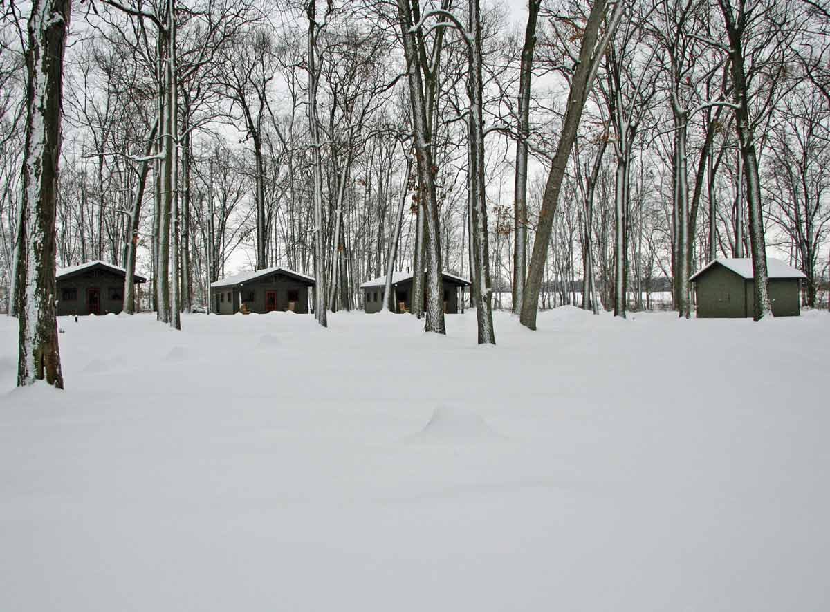 Camp Woodbury cabins in the Winter