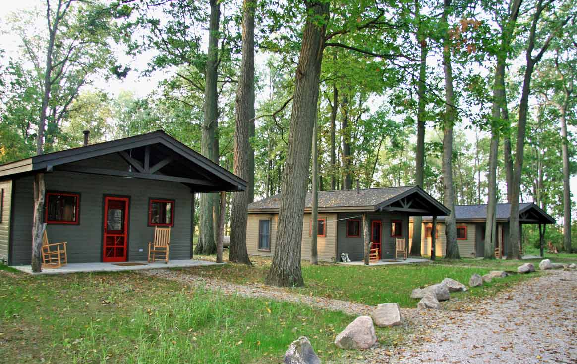 Camp Woodbury cabins in the Summer