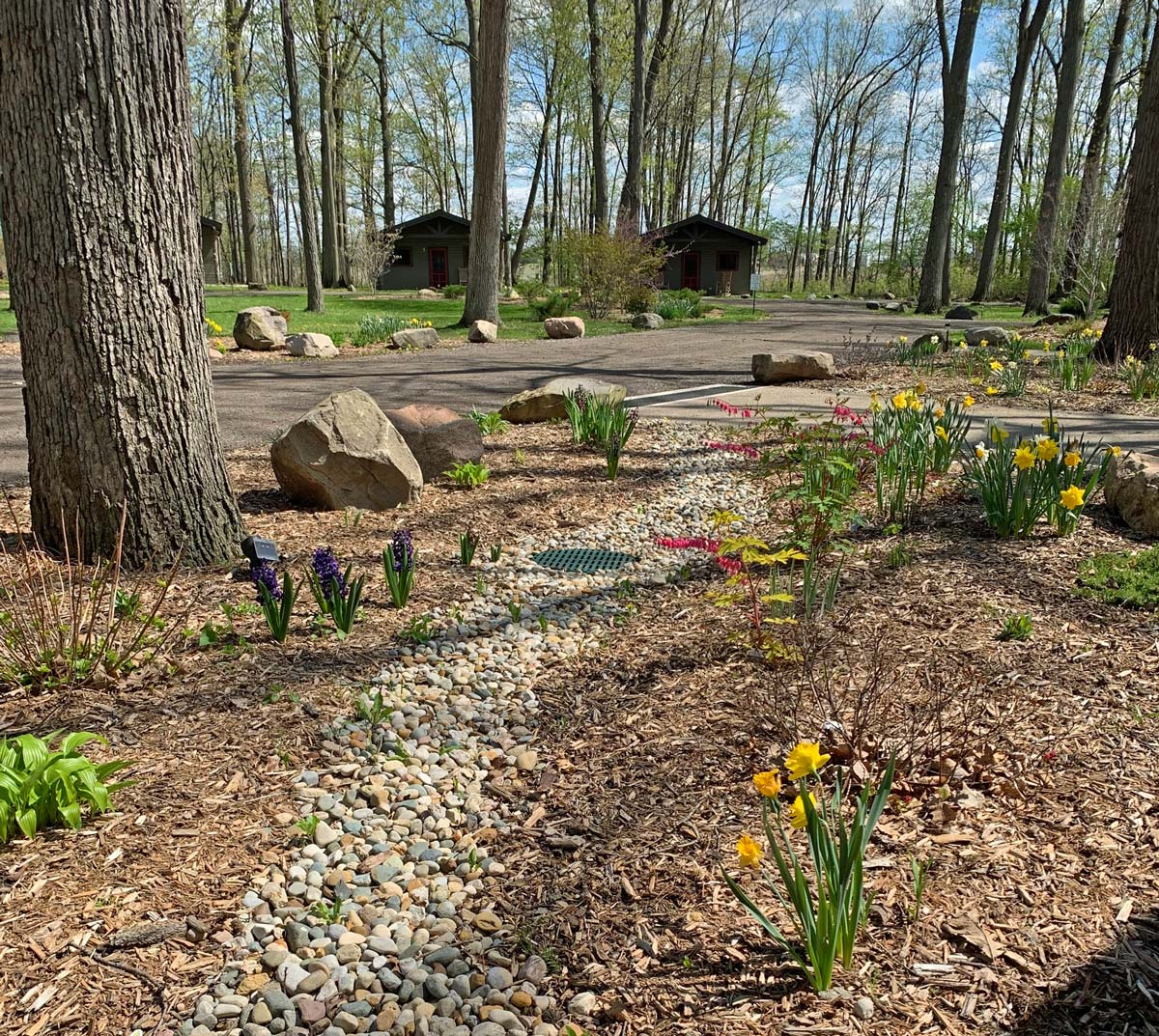 Spring garden in front of the Lodge