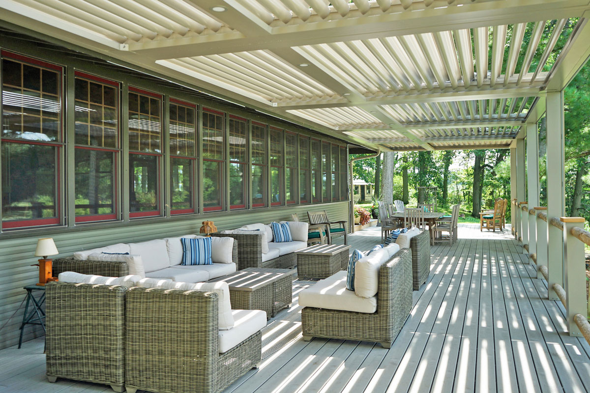 The deck on the lakeside of the lodge
