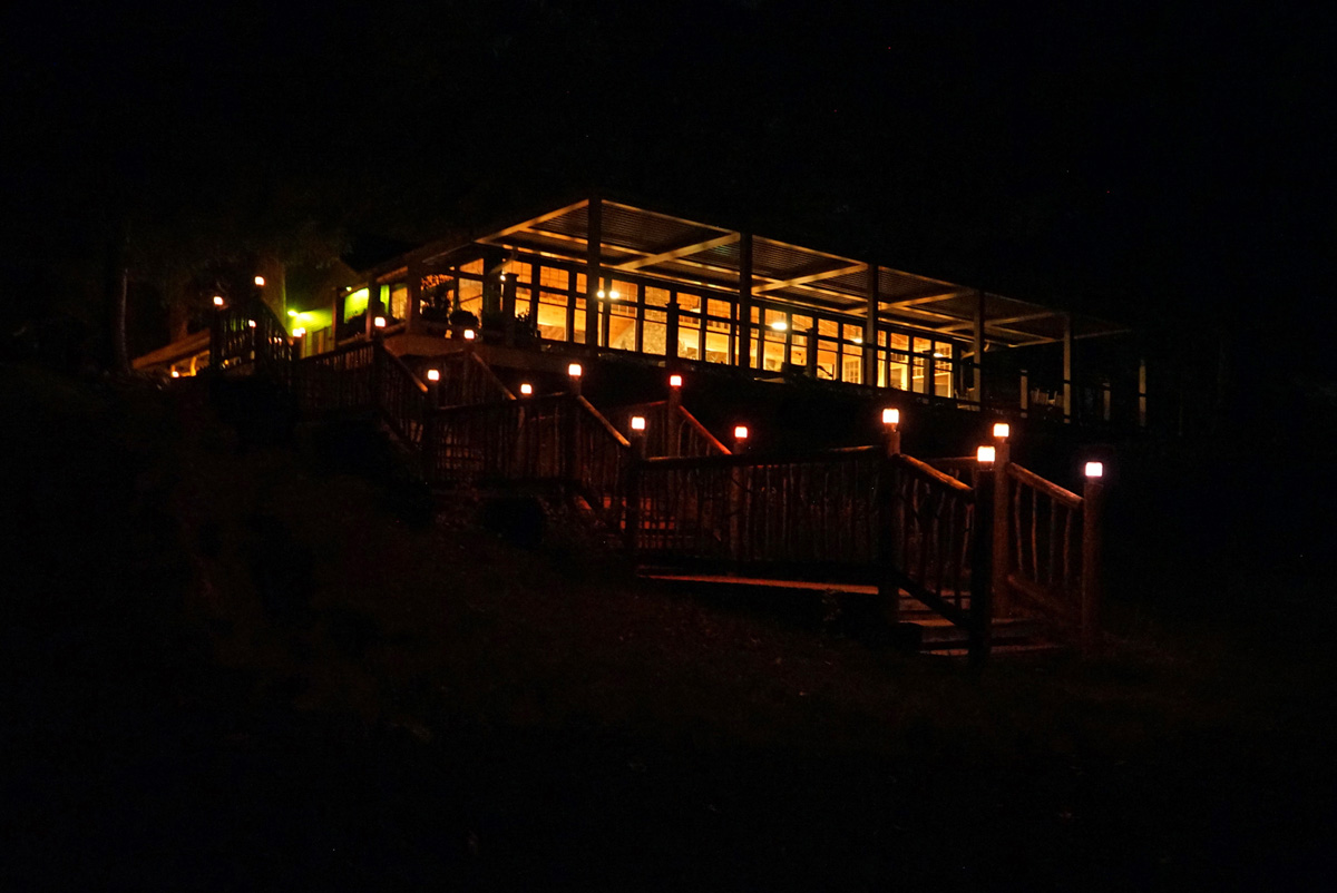 Back view of the lodge at night