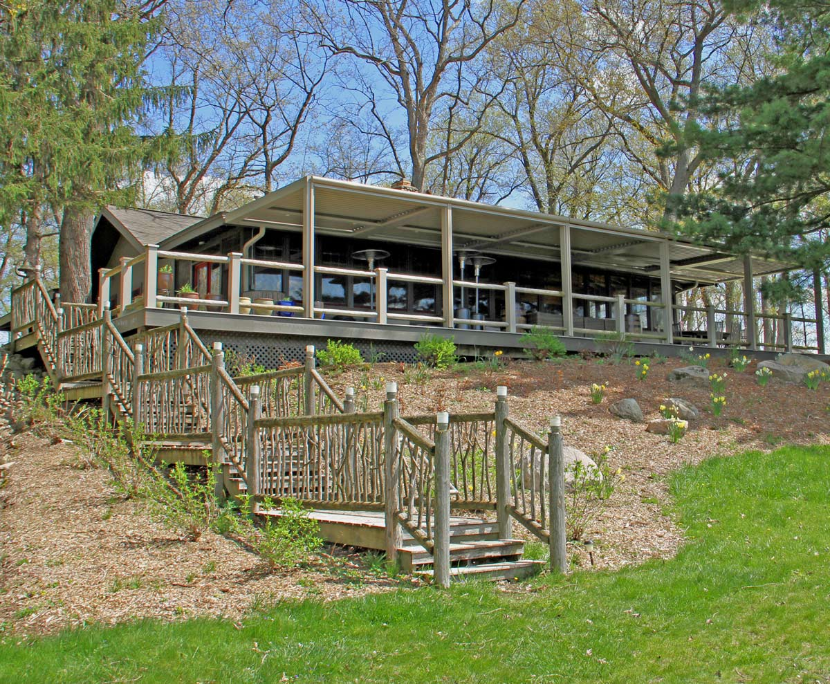 Back view of the lodge in the Spring