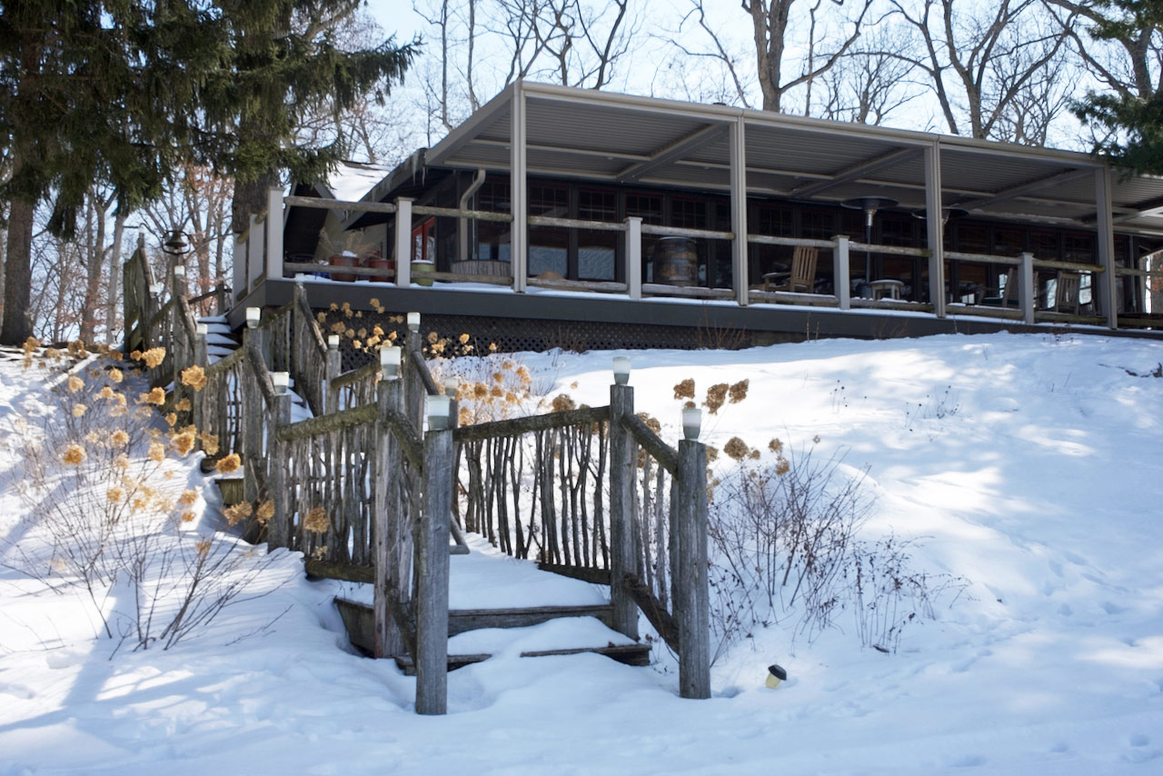 Back view of the lodge in the Winter