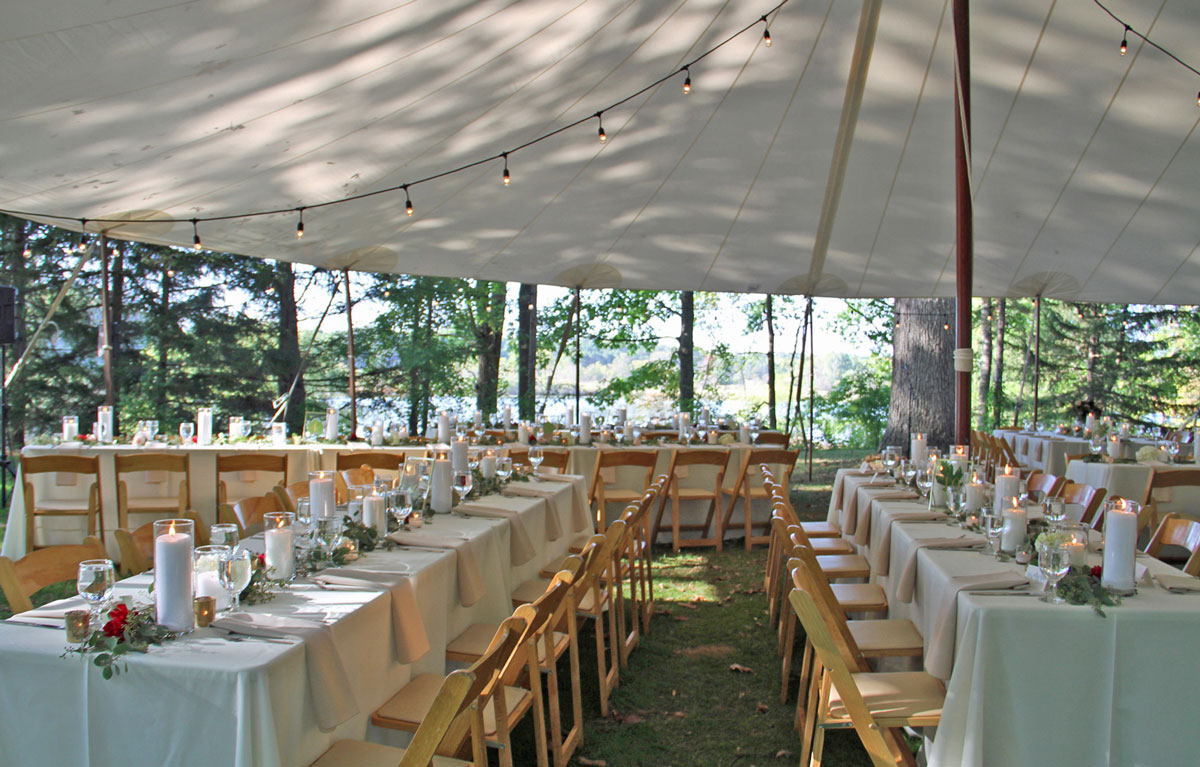 Outdoor wedding tables and tent