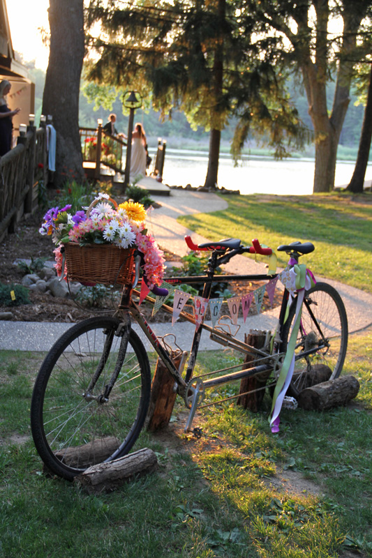 Decorated bike for a wedding